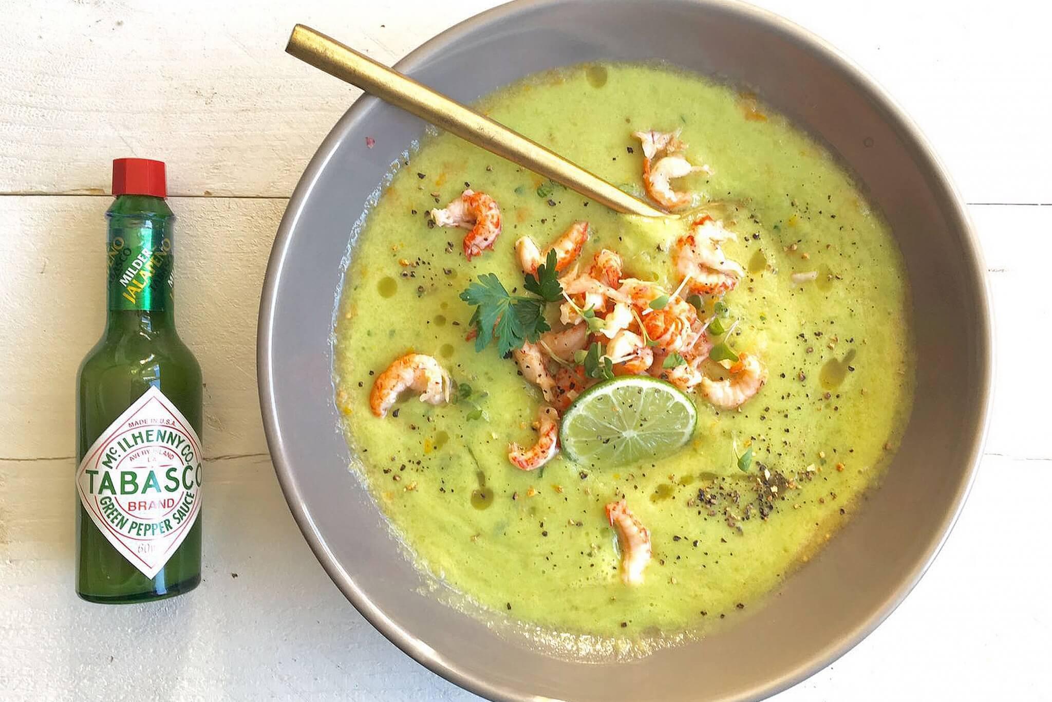 Groene gazpacho met rivierkreeftjes en Tabasco
