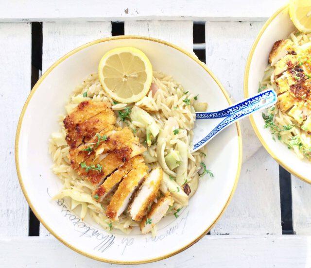 griekse risotto (orzo) met krokante kip, citroen, beurre blanc en venkel