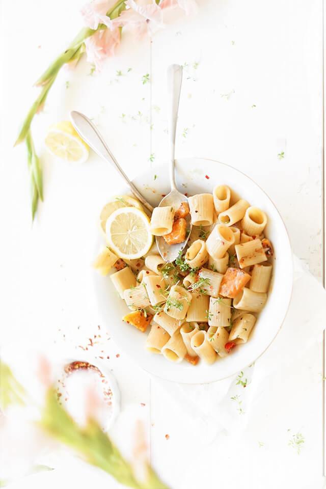 Pasta met gorgonzola en gegrilde pompoen