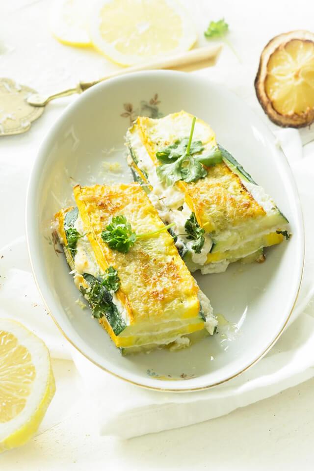 Courgette lasagne met ricotta en citroen