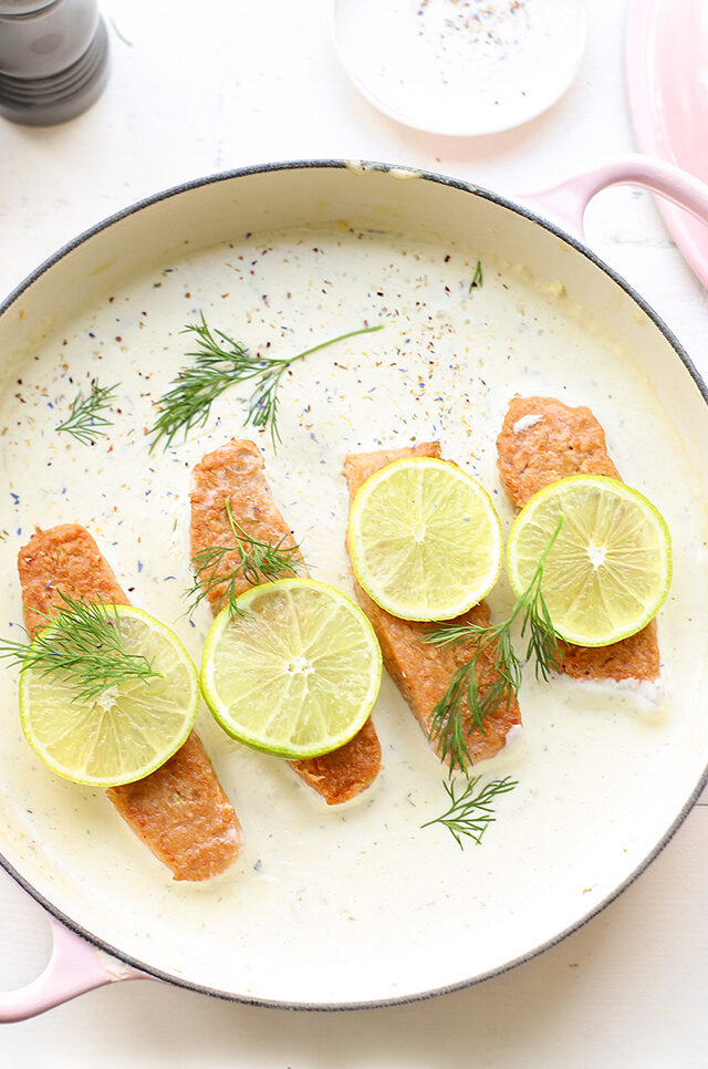 Zalm in limoen-roomsaus