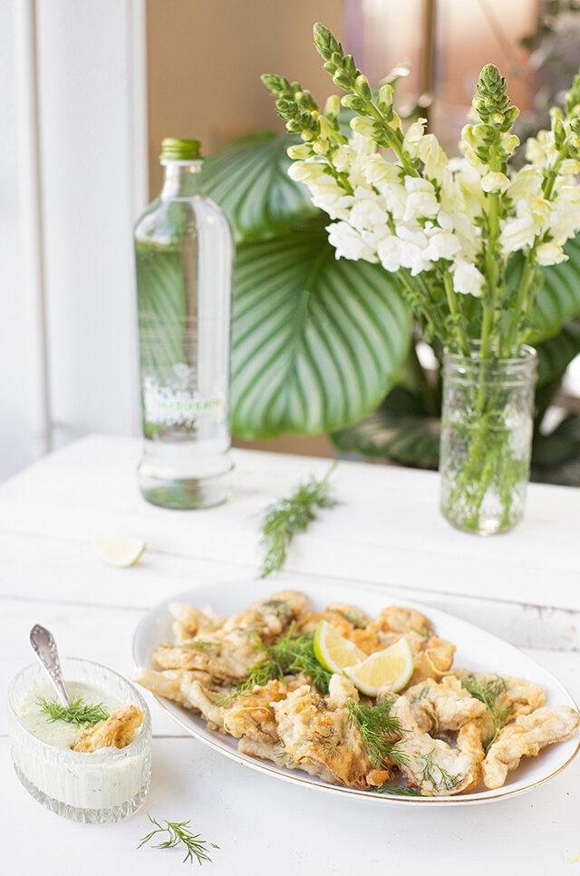 Gefrituurde oesterzwammen met dille mayo