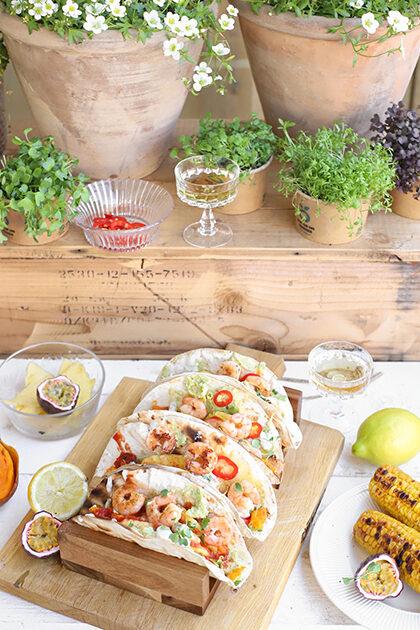 tacos tequila gambas met ananas en citroen