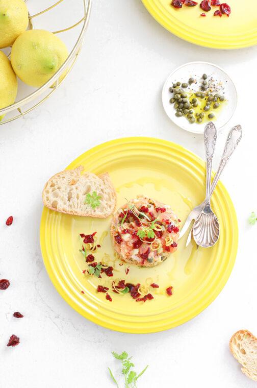 Zalm tartaar met cranberries en citroen