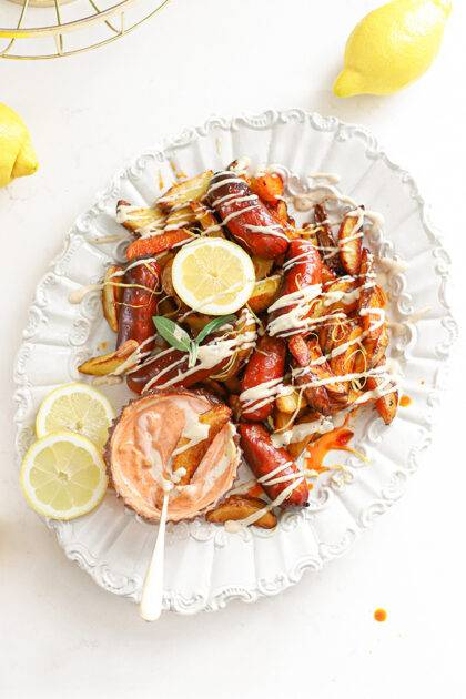 Aardappels en chorizo uit de oven met aioli & citroen