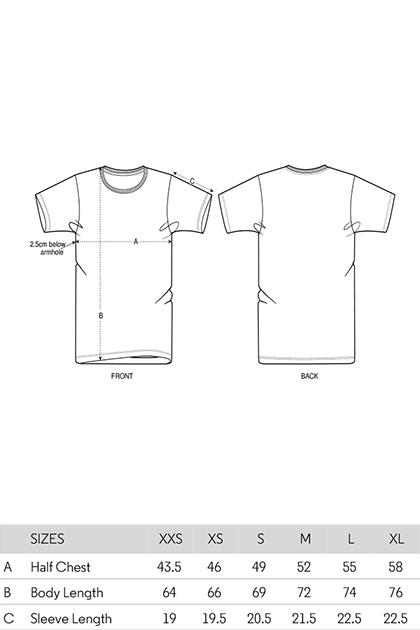 maattabel t-shirts
