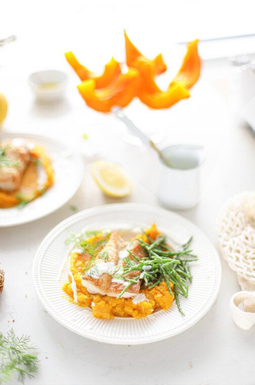 Zeebaars met pompoen, knolselderij & citroen crème fraîche