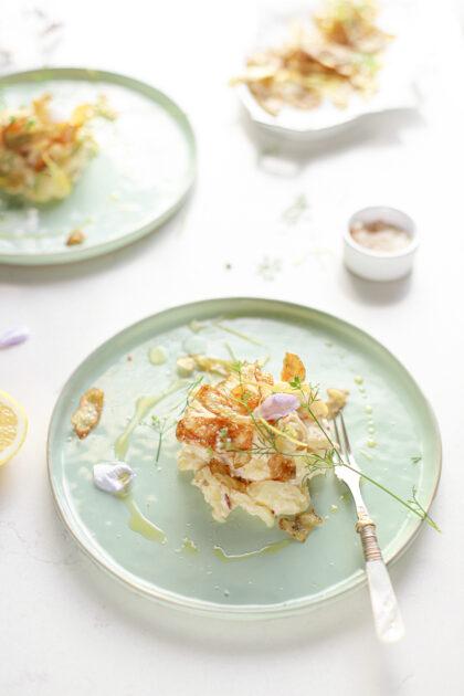 aardappelsalade met cranberry's citroen en krokante aardappelschil