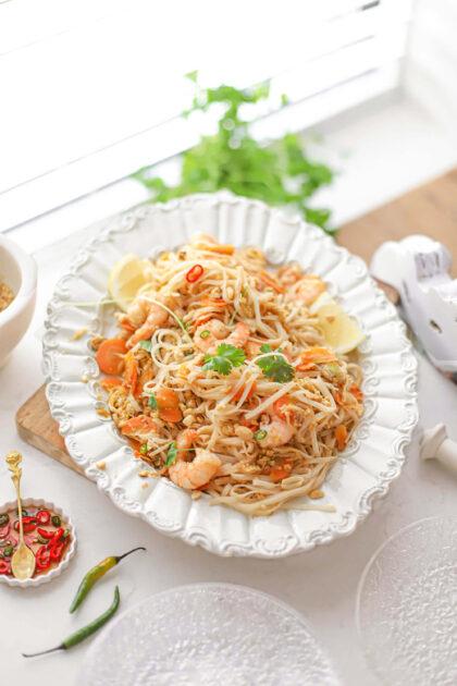 pad thai met garnalen en pepertjes-citroen