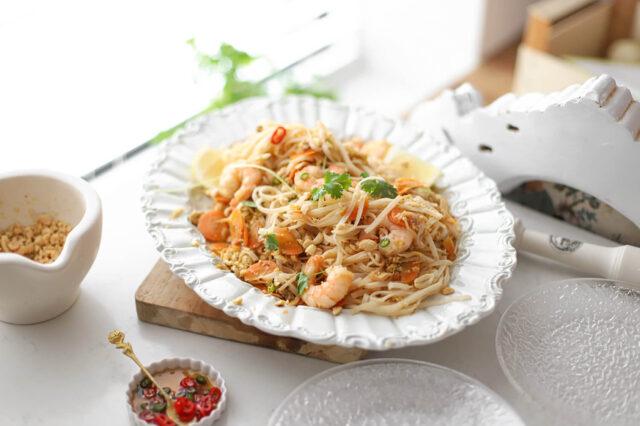 snelle Pad Thai met rawit pepertjes