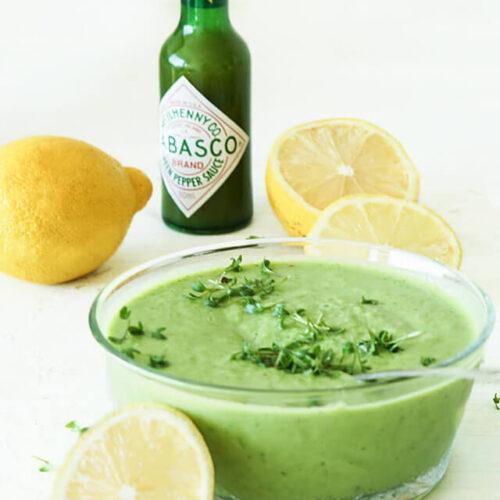Doperwten-komkommersoep met citroen