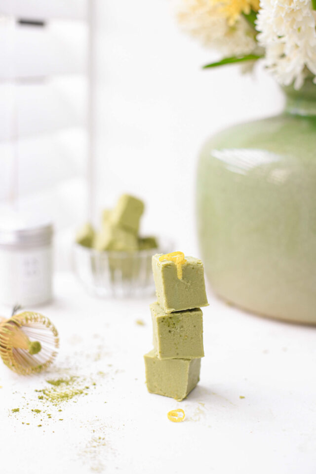 vegan matcha fudge kokos citroen