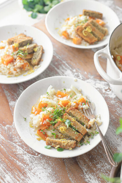risotto. met gegrilde pompoen, citroen en souka burger