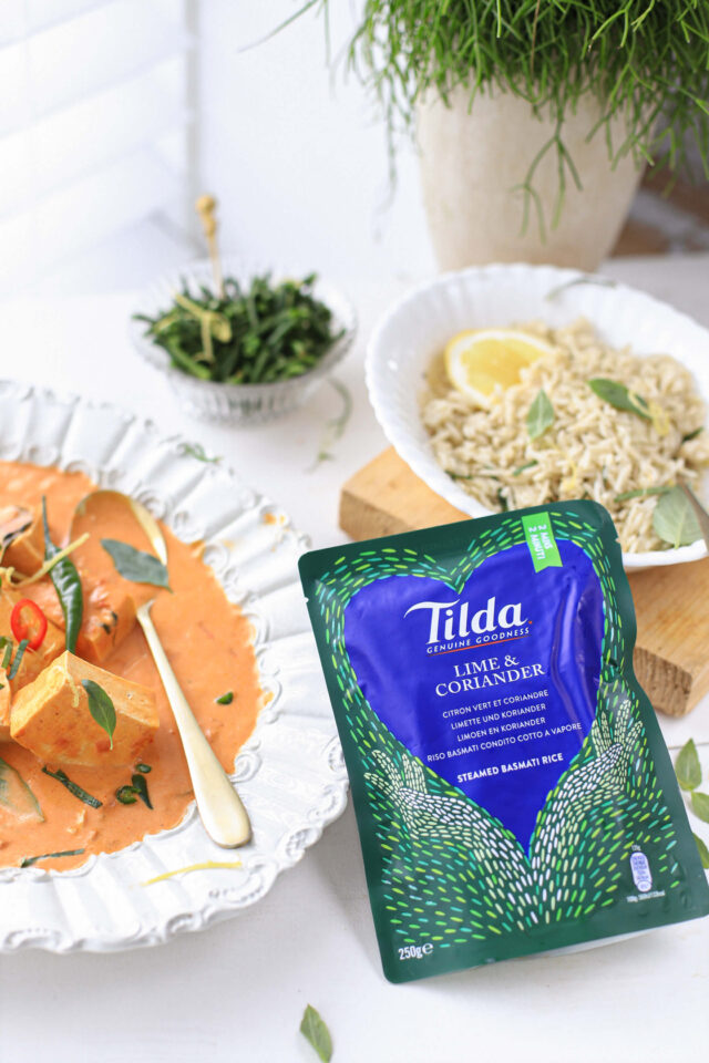 Thaise panang curry met basilicum, citroen en Tilda rijst