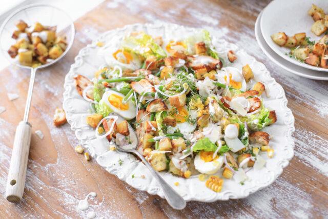 caesar salade citroen aardappeltjes ansjovis