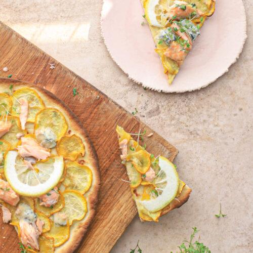 pizza courgette, zalm, citroen