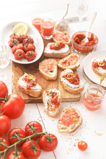 borrelhapjes met tomaat van de BBQ