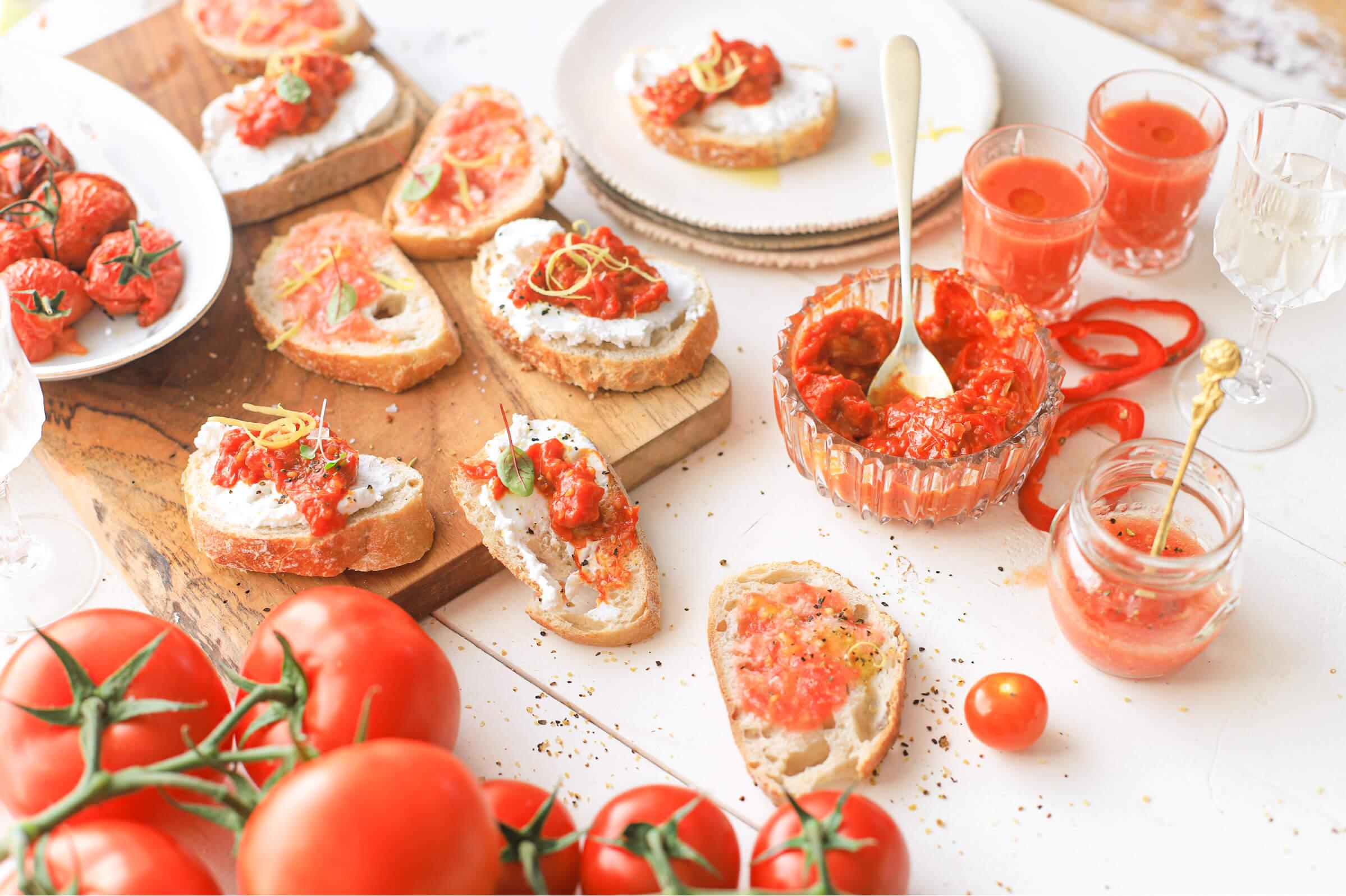 borrel hapjes met tomaat bbq