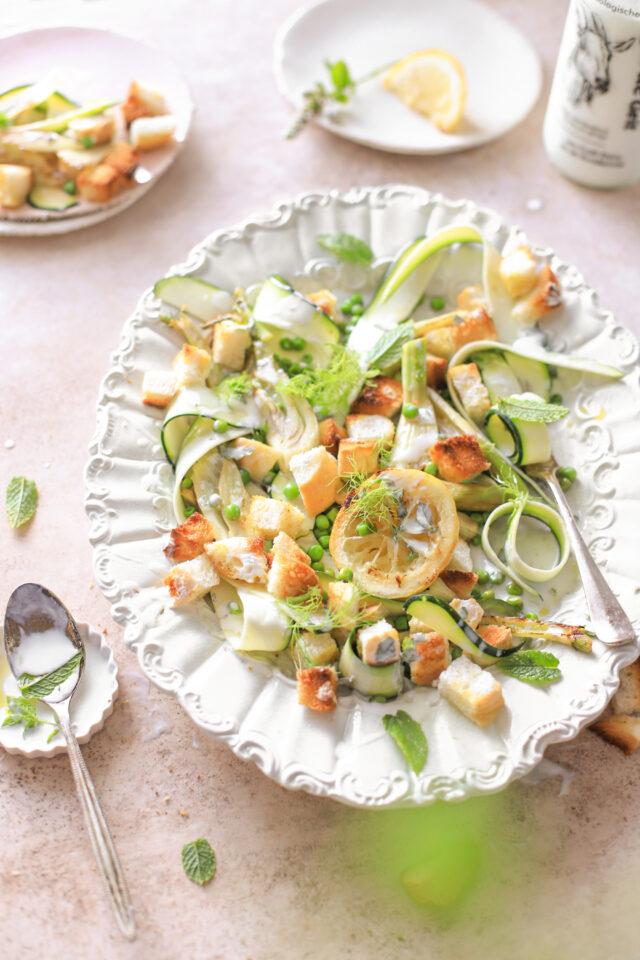 groene salade geitenyoghurt dressing croutons venkel gezond