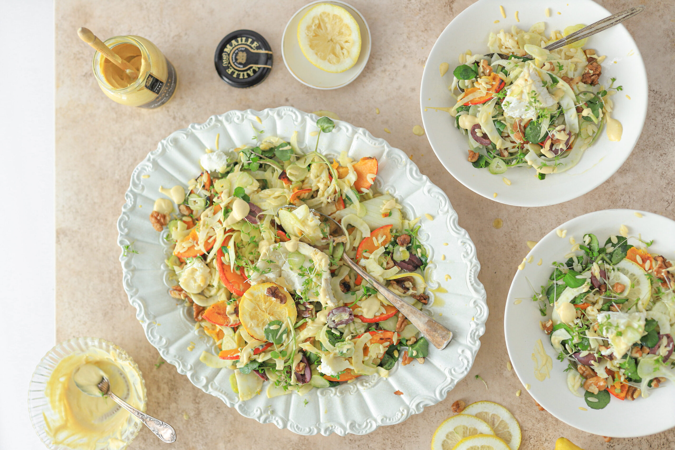 geitenkaas salade met mosterd dressing