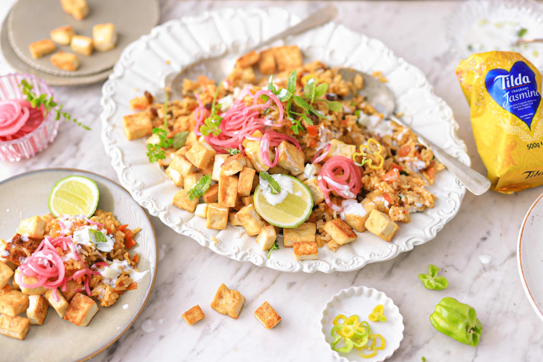 tilda jasmijn rijst briyani rijst schotel jasmijn rijst met krokante tofu