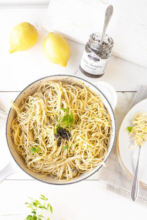 Truffel pasta met room & citroen